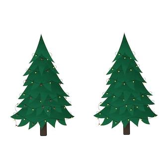 Kerstboom met kerstverlichting en aquareltextuur
