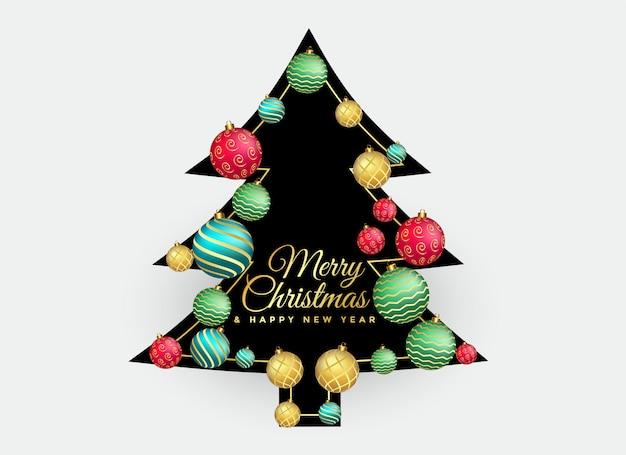 Kerstboom met kleurrijke ballen decoratie achtergrond