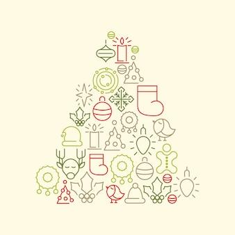 Kerstboom met kleurrijke kerst iconen