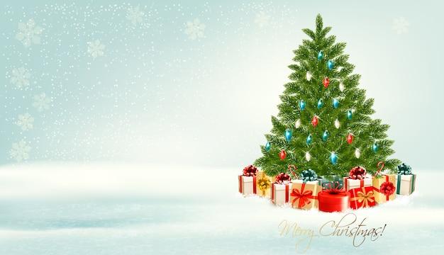 Kerstboom met presenteert achtergrond