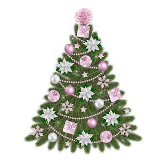 Kerstboom met roze en witte versieringen