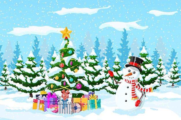 Kerstboom met slingers ballen geschenkdozen sneeuwpop