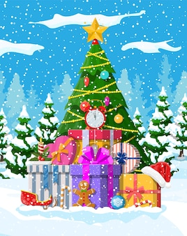 Kerstboom met slingers en ballen Premium Vector