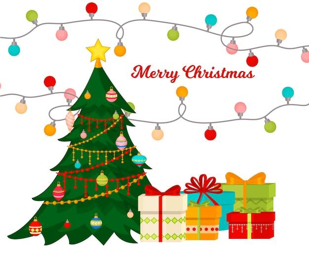 Kerstboom met spar geschenken ballen lichten winter vakantie cadeau kaart merry xmas viering gelukkig nieuwjaar decoratie vectorillustratie. traditionele feest vakantie slinger met confetti sterren aanwezig.