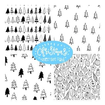 Kerstboom naadloos patroon. hand getrokken doodle bos achtergrond. retro vakantie inpakpapier. vector zwart-wit patroon. abstracte vintage print voor stof, verpakking.