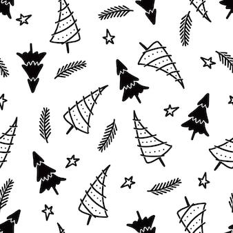 Kerstboom naadloos patroon. hand getrokken doodle stijl winter kerst patroon. vector illustratie.