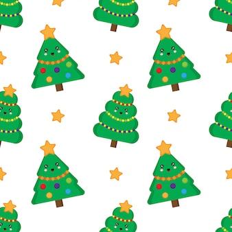 Kerstboom naadloos patroon. leuke kawaii bontbomen.