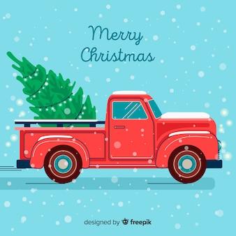 Kerstboom op een pick-up truc
