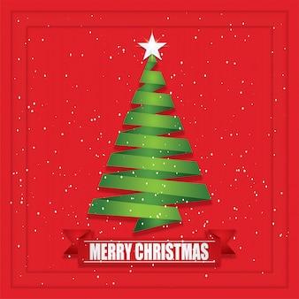 Kerstboom papier gesneden en ambachtelijke stijl.