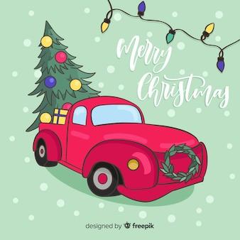 Kerstboom pick-up truck