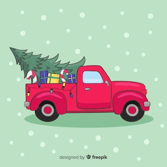Kerstboom pick-up truck