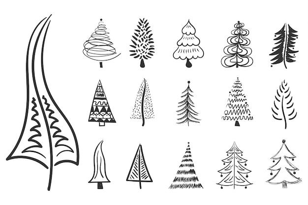 Kerstboom pictogram borstel hand getrokken lijn inkt ontwerp doodle inkt voor nieuwjaar feestelijke decoratie