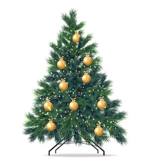 Kerstboom realistisch met gouden bal, groene spartakken, vrolijke kerstmisillustratie