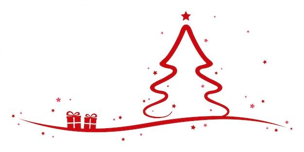Kerstboom rode sterren en presenteert witte achtergrond