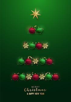 Kerstboom silhouet met decoratieve kerstballen, sneeuwvlokken, ster.