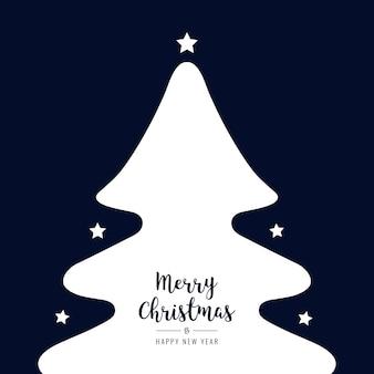 Kerstboom silhouet sterren witte groeten tekst blauwe achtergrond
