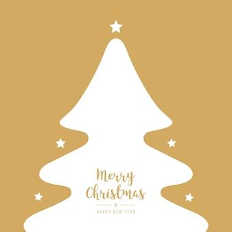 Kerstboom silhouet sterren witte groeten tekst gouden achtergrond