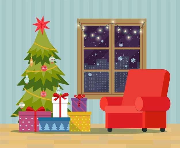 Kerstboom, stapel kleurrijke ingepakte geschenkdozen en decoreren bij het raam. kerst interieur.