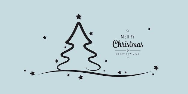 Kerstboom sterren belettering groeten blauwe achtergrond