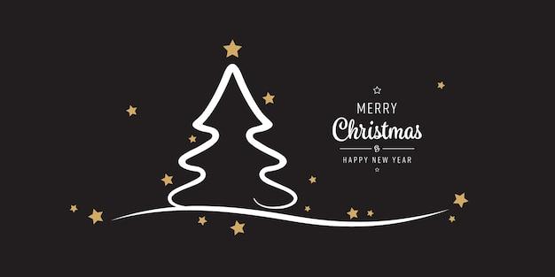 Kerstboom sterren groeten gouden zwarte achtergrond