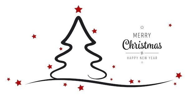 Kerstboom sterren groeten silhouet geïsoleerde achtergrond