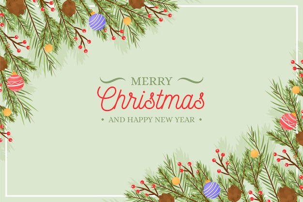 Kerstboom takken achtergrond hand getrokken