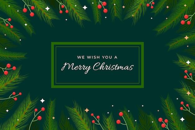 Kerstboom takken achtergrond in plat ontwerp