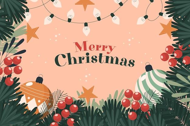 Kerstboom takken achtergrond met groet