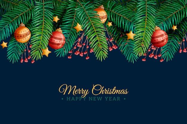 Kerstboom takken aquarel achtergrond