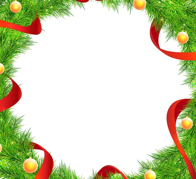 Kerstboom takken frame vector