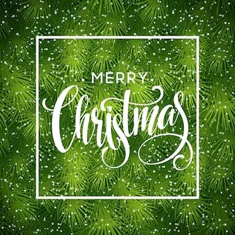 Kerstboom takken grens met handschrift belettering. vectorillustratie eps10