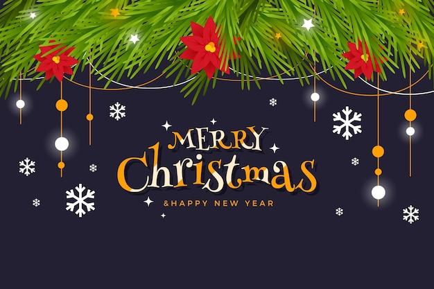 Kerstboom takken platte ontwerp achtergrond