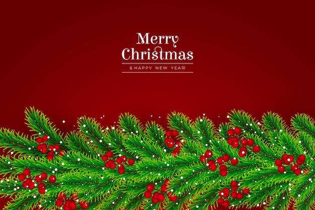 Kerstboom takken realistische achtergrond
