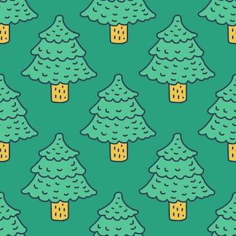 Kerstboom tekenen patroon. fir cartoon stijl. vuren achtergrond