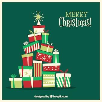 Kerstboom uit geschenkdozen