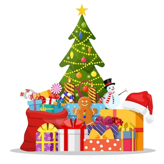 Kerstboom versierd en geschenkdozen