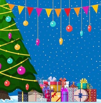 Kerstboom versierd en geschenkdozen Premium Vector