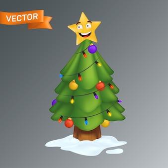 Kerstboom versierd met een lachende gele ster, kleurrijke gloeilampen op een slinger en decoratieballen. illustratie van een groenblijvende den met een stam in de sneeuw geïsoleerd op een grijze achtergrond