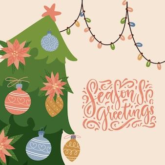 Kerstboom versierd met pointsettia en ballen wenskaart met hangende slinger en hand tekenen...