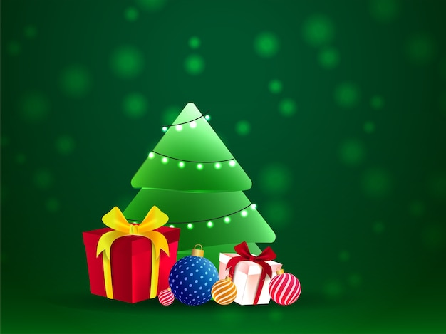 Kerstboom versierd met verlichting garland met realistische geschenkdozen en kerstballen op groene achtergrond.