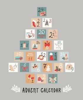Kerstboom-vormige vakantie adventskalender. klaar om te printen
