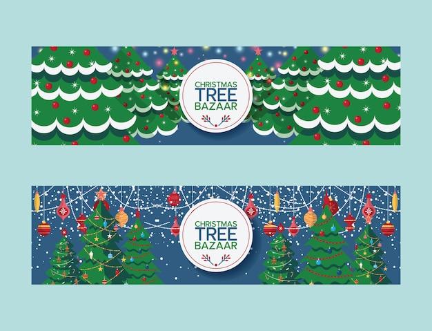 Kerstboom vrolijk kerstboomtoppen bazaar markt verkopen traditioneel nieuwjaar dennen spar illustratie van versierde kerstboom verkoop promotie ontwerp banner