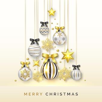 Kerstboomachtergrond met glanzende sneeuwvlokken, sterren en kleurrijke ballen