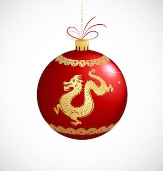 Kerstboombal met gouden draak - chinees nieuwjaar
