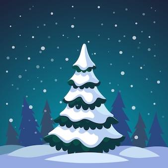 Kerstboomboom bedekt in het bos