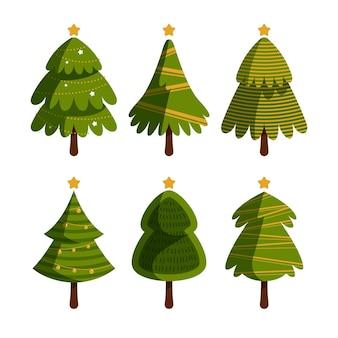 Kerstboomcollectie in plat ontwerp