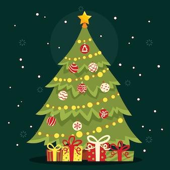 Kerstboomconcept met 2d effect