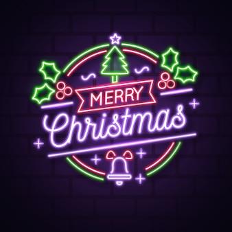 Kerstboomconcept met neonontwerp