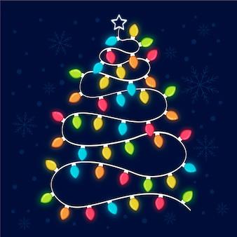 Kerstboomconcept van gloeilampen wordt gemaakt die Gratis Vector