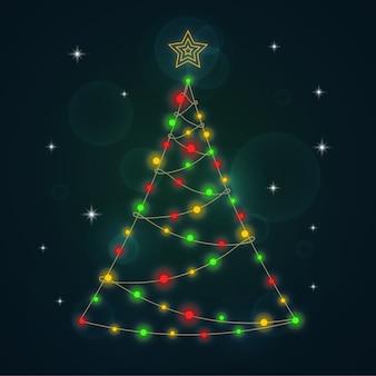 Kerstboomconcept van gloeilampen wordt gemaakt die
